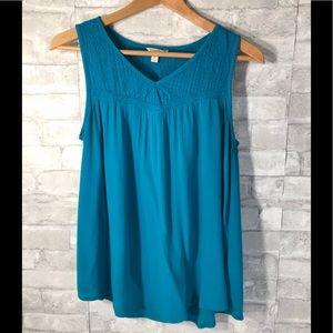 Teal Tank with embroidery detailing